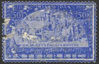 Lot 88:Austria: enlarged perforated label based on 1933 WIPA stamps in blue, used as advertising for A. Smets, unfortunately quite faulty.