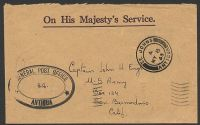 Lot 15285:1943 use of stampless OHMS registered cover to USA, cancelled with double-circle 'ST. JOHNS/A/MY8/43/ANTIGUA' (A1), triple-oval '[G]