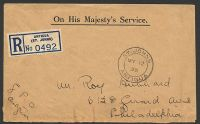 Lot 15283:1935 use of stampless OHMS registered cover to USA, cancelled with double-circle 'ST. JOHNS/MY12/35/ANTIGUA' (A1).