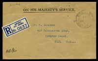 Lot 15282 [1 of 2]:1935 use of stampless OHMS registered cover to USA, cancelled with double-circle '[ST.] JOHNS/AP30/35/[A]