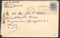 Lot 2659:1943 use of 3d Landfall to USA, cancelled with Nassau machine, 'P.C.90/OPENED BY EXAMINER/IG/5832' label.