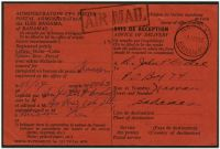 Lot 3178:1954 use of black/red Avis de Réception card with boxed 'AIR MAIL' handstamp applied, locally used at Nassau, usual faults from being stapled to original article.