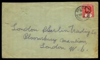 Lot 15749 [1 of 2]:1911 use of 2c carmine (SG #96) on cover to UK, cancelled at Belize, mild creasing to right edge.