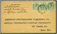 Lot 15750:1916 use of 1c blue-green strip of 3 (SG 101) on cover to USA, cancelled at Belize.