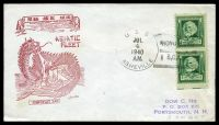 Lot 3583:1940 use of 1c Longfellow pair cancelled with 'U.S.S./JUL4/1940/A.M./ASHEVILLE - HONG KONG/B,C,C.' (B1), on illustrated Asiatic Fleet cover.