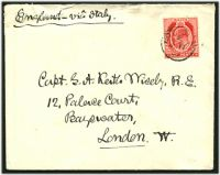 Lot 19734:Notabile: 'NOTABILE/E/JU17/07' on KEVII 1d red on cover to UK.