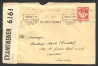 Lot 3855:1941 use of KGVI 2d carmine-red on cover to Canada, cancelled with Kitwe machine on 17MAR41, 'P.C. 90/OPENED BY/EXAMINER 6161' label attached.