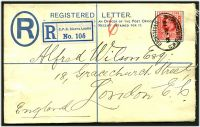 Lot 14127:1902 HG #C2a 2d blue size g, cancelled on 13JU10, flap sealed with wax.