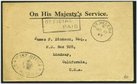Lot 20670:1947 use of stampless OHMS cover to USA cancelled with 'ST.HELENA/C/NO12/47' (A1+), boxed 'OFFICIAL/    PAID' (A1) & oval 'POST OFFICE/[crown]/ST HELENA' (B1) both on face.