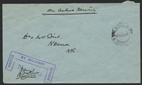 Lot 3326:1942 use of stampless OAS cover to Nkana, cancelled with double-circle 'NDOLA/20AUGD42/N. RHOD[ESIA]