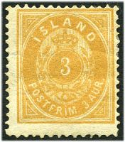 Lot 11573:1882 New Colours Perf 14x13½ SG #20 3a brownish ochre, Cat £110, hinge remainder, guarantee? handstamp on back.