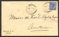Lot 3799 [1 of 2]:1916 use of KGV 8c blue on cover to Amsterdam, violet straight-line 'PASSED CENSOR/BOMBAY' (B1) on face.