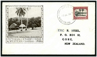 Lot 3509:1935 Pictorials 1d on official illustrated cover, address has been partly bleached out.
