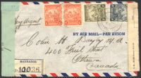 Lot 3182 [1 of 2]:1943 use of KGVI 1½d x2, 4d & 1/- on registered air cover to Canada, 'P.C. 90/OPENED BY EXAMINER/H 10' at left, Canadian Foreign Exchange Control Board label at right.
