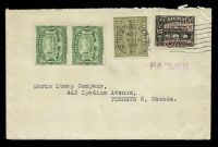 Lot 3582:1932 use of Guatemala 1929 ½c x2 & 1930 2c on 15c plus 1c postal tax with New Orleans machine cancel, violet straight-line 'PAQUEB[OT]
