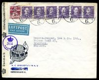 Lot 16461:1945 use of 5ø & 10ø x6 on censored air cover to England, 'Danmark Udlandspostkontrollen' label tied with violet '[crown]/314/DANMARK' (A1).