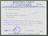 Lot 3122 [2 of 2]:1945 Western Union Cablegram and 'Telephone Confirmation' envelope from USA to Northwood, violet octagonal 'PASSED BY CENSOR/[crown]/No/T41' (A2) on telegram. (2)