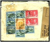 Lot 3233 [1 of 2]:1937 use of 1d Coronation pair, 3d Pictorial x7 (1 stamp completely overlaps another) & 1/- on air cover to England officially sealed in England with 'Found Open' label.