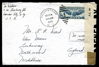 "Lot 3584:1940 use of 30c air, cancelled with 'HEMPSTEAD/SEP14/1130AM/1940.N. Y. - 1' (A1), on cover to England, 'P.C. 90/OPENED BY/EXAMINER 4078' tape at left, endorsed ""No material/matter"" on face."