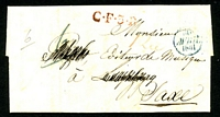Lot 16913:1831 entire to Leipzig, cancelled with blue '30/AVRIL/1831' (C1), straight-line red 'C·F·3·R