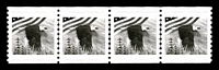 Lot 3579:1982 Coil Test Stamps black eagle & flag Imperf xP10 strip of 4. [Produced for the 1992 World Columbian Fair in Chicago.]