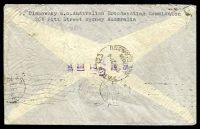 Lot 743 [2 of 2]:1939 use of 3d, 6d large kooka & 1/- small lyrebird on air cover to France.