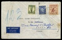 Lot 743 [1 of 2]:1939 use of 3d, 6d large kooka & 1/- small lyrebird on air cover to France.