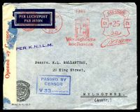 Lot 19954:1939 use of stampless air cover to Melbourne, cancelled with Gravenhage Borneo Sumatra Handel Maatschappij 25c meter of 19.9.39 with advertising for Westinghouse refridgeraters, violet straight-line 'PER K.N.I.L.M.' on face, censor tape at left and boxed blue 'PASSED BY CENSOR/V32......' (A1) also on face, some insect damage but a very early censored cover. [Australia declared war on 3/9/1939.]