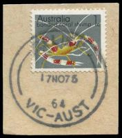 Lot 9930:3rd Asian Oceanic Postal Union Congress: 'RELIEF/17NO75/64/VIC-AUST' on 1c.  PO 17/11/1975; closed 18/11/1975.