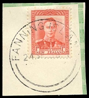 Lot 3096:Fanning Island: 'FANNING ISLAND/24SP38.1/-' on NZ 1d red KGVI on piece.  PO 29/11/1902.