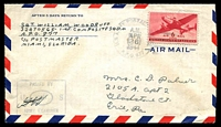 Lot 15298:1944 USA 6c on cover to Erie, Pa, cancelled with 'U.S. ARMY POSTAL SERVICE/A.M./APR/26/1944/A.P.O. 877' duplex, rare.