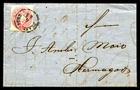 Lot 3171:1863 use of 5k rose Arms P14 on entire (SG #41 Cat £50), attractive gold on red seal.