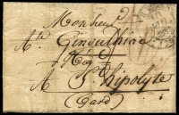 Lot 16914 [1 of 2]:1833 stampless entire cancelled with double-circle '[?]E VIGAN[DE]/10/JUIN/[1833]/(29)' (B2), nice blue double-circle 'ST HIPPOLYTE-DU-FORT