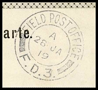 Lot 18059 [3 of 3]:1919 use of black and white PPC of 'Bahnhof Station Imst' (sic), cancelled with double-circle 'FIELD POST OFFICE/A/26JA/19/F.D.3.' (A1) of Italy (equal LRD with Proud), to East Dulwich, London, with shield '[crown]/PASSED BY CENSOR/430' (A1-), some discolouration around edges.