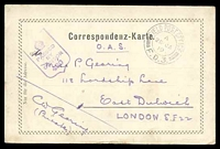 Lot 18059 [1 of 3]:1919 use of black and white PPC of 'Bahnhof Station Imst' (sic), cancelled with double-circle 'FIELD POST OFFICE/A/26JA/19/F.D.3.' (A1) of Italy (equal LRD with Proud), to East Dulwich, London, with shield '[crown]/PASSED BY CENSOR/430' (A1-), some discolouration around edges.