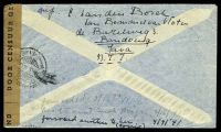 Lot 19957 [2 of 2]:1941 use of 1g purple, 42½c yellow & 2½c brown, cancelled with double-circle 'BANDOENG/13.1.41 9/+X+' (B1) on plain air cover to South Bend, Indiana, sealed at right with 'DOOR CENSUUR GEOPEND' tape in black on brown laid paper, also bearing double-circle 'CENSUUR/14.1.41 16/4' (A1) & circular 'DEV/1' (A1-) in red, small closed tear at top, some light creasing.