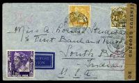 Lot 19957 [1 of 2]:1941 use of 1g purple, 42½c yellow & 2½c brown, cancelled with double-circle 'BANDOENG/13.1.41 9/+X+' (B1) on plain air cover to South Bend, Indiana, sealed at right with 'DOOR CENSUUR GEOPEND' tape in black on brown laid paper, also bearing double-circle 'CENSUUR/14.1.41 16/4' (A1) & circular 'DEV/1' (A1-) in red, small closed tear at top, some light creasing.