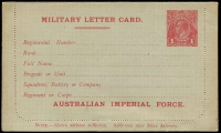 Lot 3110:1916 Australian Imperial Force BW #LCM1 KGV Sideface 1d red Die I letter card, with 'AUSTRALIAN IMPERIAL FORCE', Cat $500, unused but sealed.