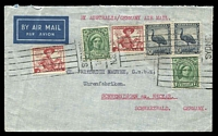 Lot 712:1949 (Dec 4) airmail from Sydney to Germany with 6 stamps totalling 1/7d.