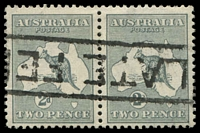 Lot 165:2d Grey BW #6 pair, Cat $30, cancelled with boxed 'LATE FE[E]