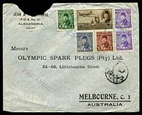 Lot 3287:1948 (Aug 2) use of 3m Air & Farouk 4m, 5m, 10m x2 & 20m on air cover from Alexandria to Melbourne, minor faults.