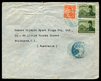 Lot 3288:1949 (Feb 16) use of 2m Farouk, 30m Farouk & Pyramids pair on air cover from Port Said to Melbourne, minor faults.