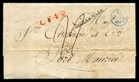 Lot 16915 [1 of 2]:1836 (Jul 12) outer from Paris to Port Maurice, Italy, fine blue '12/JUI