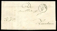 Lot 17227:1857 stampless entire, cancelled with 'ZWICKAU/13/OCT/57' (B1) to Zwenkau.