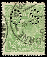 Lot 242:½d Green Comb Perf [6R12] Break in BLC of right value shield in line with fraction bar perf 'OS'