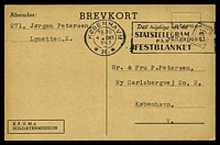 Lot 16460:1943 use of K.F.U.M.s Soldatermission card with typed 'Interne/ringspost!', cancelled with slogan 'KØBENHAVN/1530/4OKT/943/*K.*' (A1), from Lynetten, K. internment camp to Copenhagen.