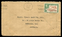 Lot 16760 [1 of 2]:1948 (Dec 4) use of 2½d Map on cover to Melbourne, small faults.