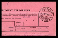 Lot 11102 [2 of 2]:1939 use of Telegram envelope (G.C.P. & T. No. 190.) with accompanying telegram, both cancelled with double-circle 'NSUTA WASSAW/23DEC1939/GOLD COAST' (A1+ - ERD).