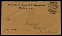 Lot 11102 [1 of 2]:1939 use of Telegram envelope (G.C.P. & T. No. 190.) with accompanying telegram, both cancelled with double-circle 'NSUTA WASSAW/23DEC1939/GOLD COAST' (A1+ - ERD).