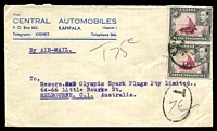 Lot 3781:1948 (Jan 26) use of 50c pair on air cover to Melbourne. Underpaid by 30c and taxed 75c.